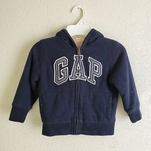 Gap Toddler Boy Navy Blue Sherpa Zip Hooded Jacket